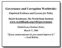 Governance and Corruption Worldwide : Em... by Kaufmann, Daniel