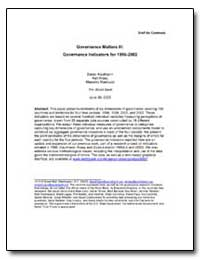 Governance Matters III : Governance Indi... by Kaufmann, Daniel
