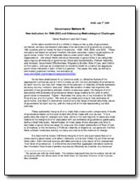 Governance Matters III : New Indicators ... by Kaufmann, Daniel