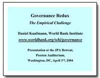 Governance Redux the Empirical Challenge by Kaufmann, Daniel