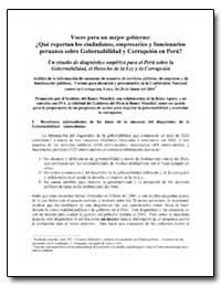 Voces para Un Mejor Gobierno : Que Repor... by The World Bank