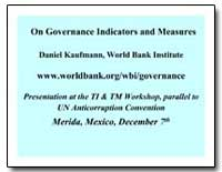 On Governance Indicators and Measures by Kaufmann, Daniel