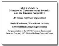 Metrics Matters : Measures of Governance... by Kaufmann, Daniel