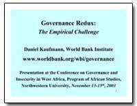 Governance Redux : The Empirical Challen... by Kaufmann, Daniel