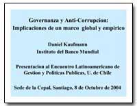 Governanza Y Anti-Corrupcion : Implicaci... by Kaufmann, Daniel