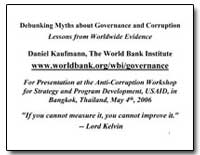 Debunking Myths about Governance and Cor... by Kaufmann, Daniel
