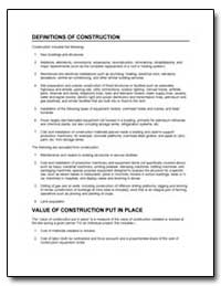 Definitions of Construction by U. S. Census Bureau Department