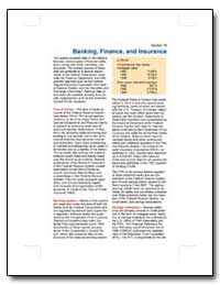Banking, Finance, And Insurance by U. S. Census Bureau Department