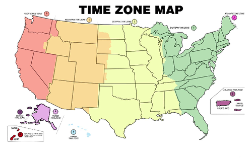 Time Zone Map by Federal Bureau of Investigation