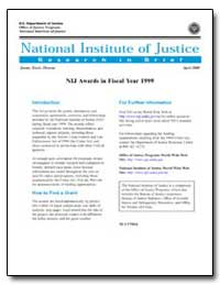 Nij Awards in Fiscal Year 1999 by Travis, Jeremy