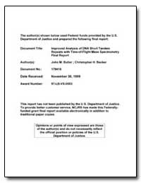 Improved Analysis of Dna Short Tandem Re... by Butler, John M.