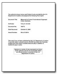 The Measures to Control Transnational Or... by Government Printing Office
