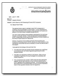 Memorandum : Interim Report on the Proce... by Government Printing Office