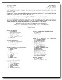 Specifications for Contract Printing and... by Government Printing Office