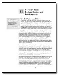Common Sense Declassification and Public... by Government Printing Office