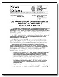 Gpo Analysis Shows Omb Printing Policy C... by Government Printing Office