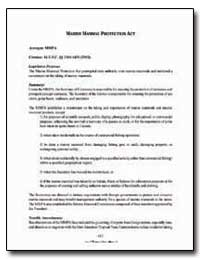 Marine Mammal Protection Act by Government Printing Office