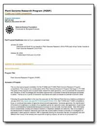 Plant Genome Research Program (Pgrp) Fy2... by Government Printing Office
