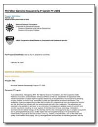 Microbial Genome Sequencing Program Fy 2... by Government Printing Office