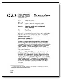 Report on Review of Gpo's Regional Offic... by Government Printing Office