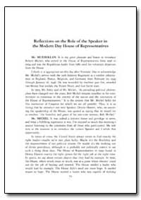 Reflections on the Role of the Speaker i... by Government Printing Office