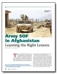 Army Sof in Afghanistan Learning the Rig... by Jones, Frank L.