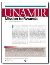 Unamir Mission to Rwanda by Dallaire, R. A.