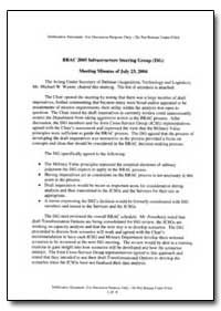 Brac 2005 Briefing to the Infrastructure... by Department of Defense