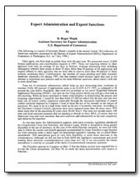 Export Administration and Export Sanctio... by Majak, R. Roger