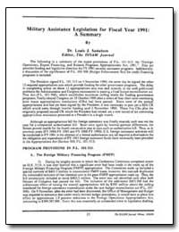 Military Assistance Legislation for 1991... by Samelson, Louis J., Dr.