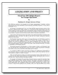 2001 Budget Request for Foreign Operatio... by Albright, Madeleine K.