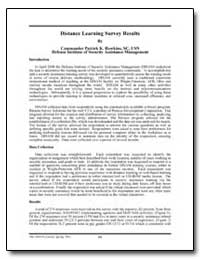 Distance Learning Survey Results by Hawkins, Patrick K., Commander