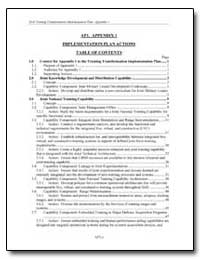 Implementation Plan Actions Table of Con... by Department of Defense