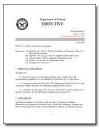 Defense Production Act Programs by Department of Defense