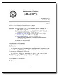 Dod Operations Security (Opsec) Program by Department of Defense