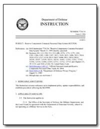 Reserve Components Common Personnel Data... by Department of Defense