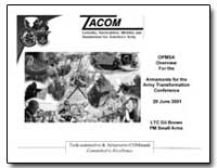 Opmsa Overview for the Armaments for the... by Brown, Gil, Lieutenant Colonel