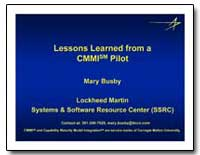 Lessons Learned from a Cmmi Sm Pilot by Bus, Mary