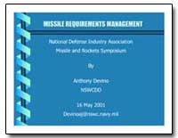 Missile Requirements Management National... by Devino, Anthony