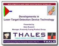 Developments in Laser Target Detection D... by Buzzard, Gary