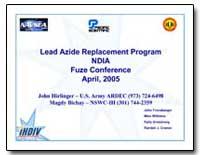 Lead Azide Replacement Program Ndia Fuze... by Hirlinger, John