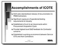 Accomplishments of Icote by Department of Defense