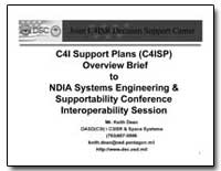 C4I Support Plans (C4Isp) Overview Brief... by Dean, Keith