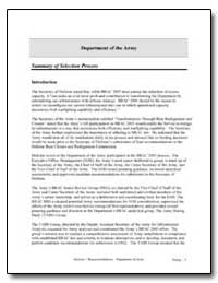 Department of the Army : Summary of Sele... by Department of Defense