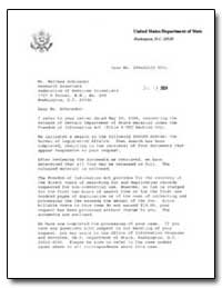 Letter to Matthew Schroeder from the Uni... by Grafeld, Margaret P.