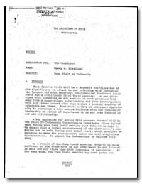 Subject : Your Visit to Indonesia by Kissinger, Henry A.
