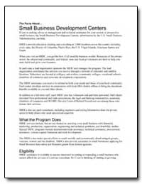 Small Business Development Centers by Small Business Administration