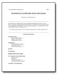 Business Plan for the Small Retailer by Small Business Administration