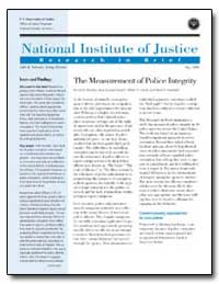 The Measurement of Police Integrity by Samuels, Julie E.