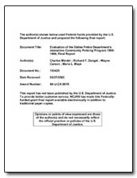 Evaluation of the Dallas Police Departme... by Mindel, Charles